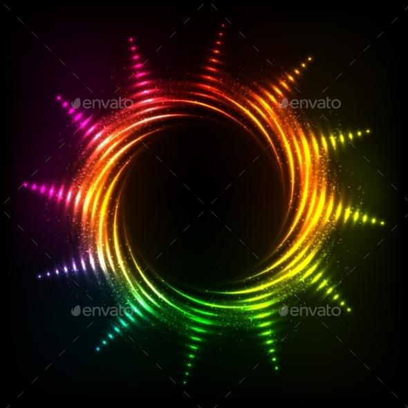 Abstract Rainbow Neon Spirals Vector Cosmic Sun - Decorative Symbols Decorative