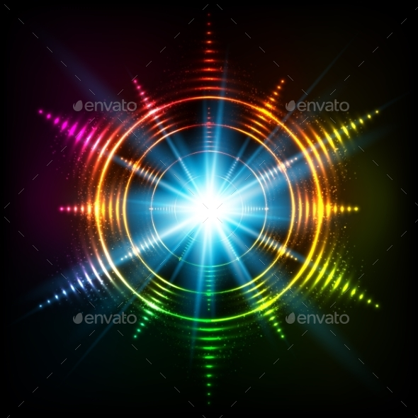 Abstract Rainbow Neon Spirals Vector Cosmic Star - Decorative Symbols Decorative