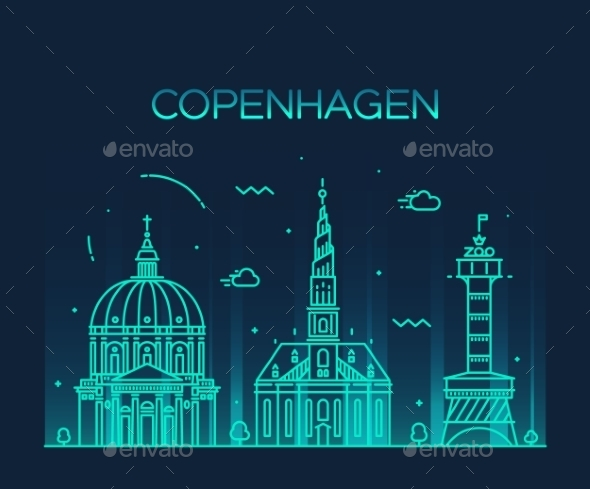 Copenhagen Skyline Trendy Vector Linear Style - Buildings Objects