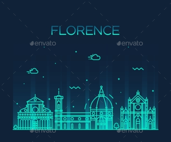 Florence Skyline Silhouette Vector Linear Style - Buildings Objects