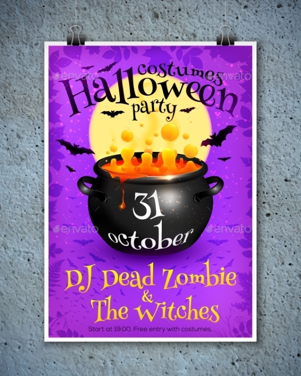 Bright Purple Halloween Party Poster Template - Halloween Seasons/Holidays