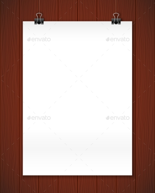 White Paper Poster On Wooden Wall, Realistic - Concepts Business