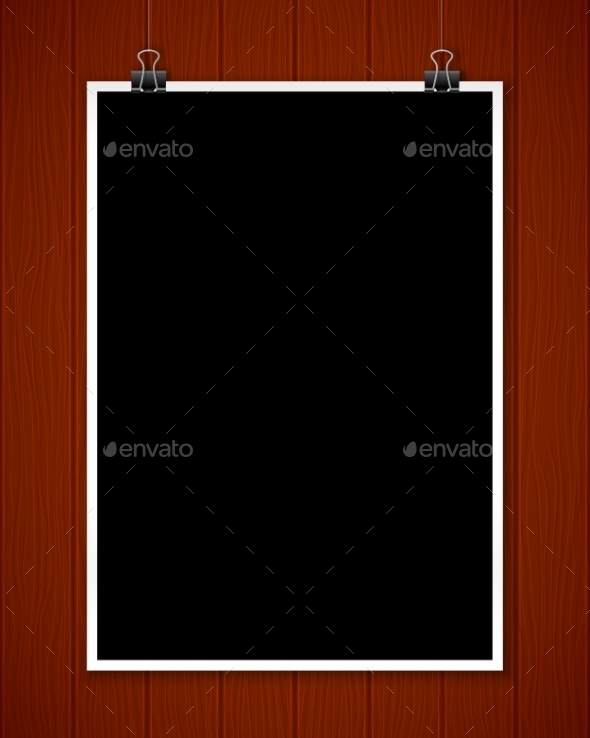 Black Poster Mockup On Wooden Textured Wall - Concepts Business