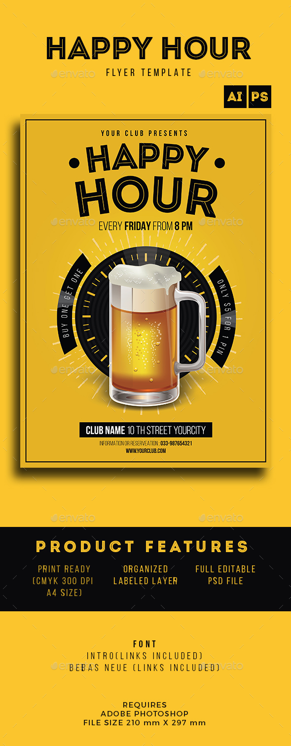 Happy Hour Beer Promotion - Flyers Print Templates