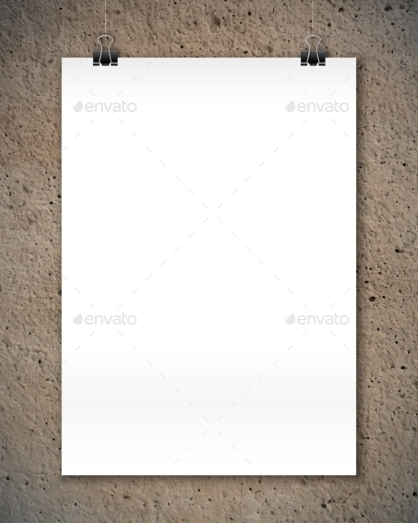 White Poster Mockup At Stylized Concrete Texture - Backgrounds Decorative