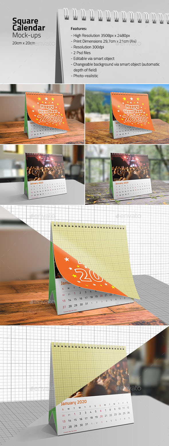Square Desk Calendar Mock-ups - Miscellaneous Print