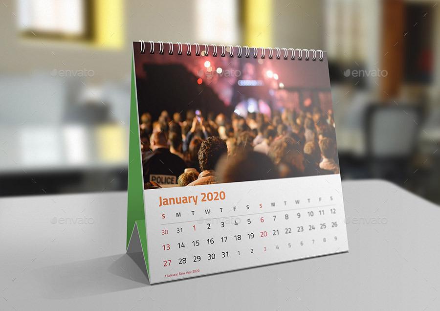 Desk Calendar 2020.Square Desk Calendar Mock Ups