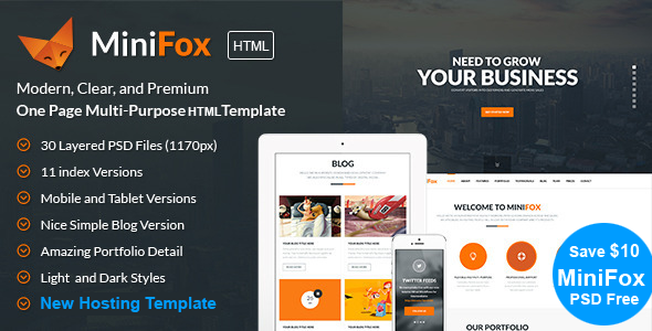 MiniFox | One Page Responsive BS3 HTML Template