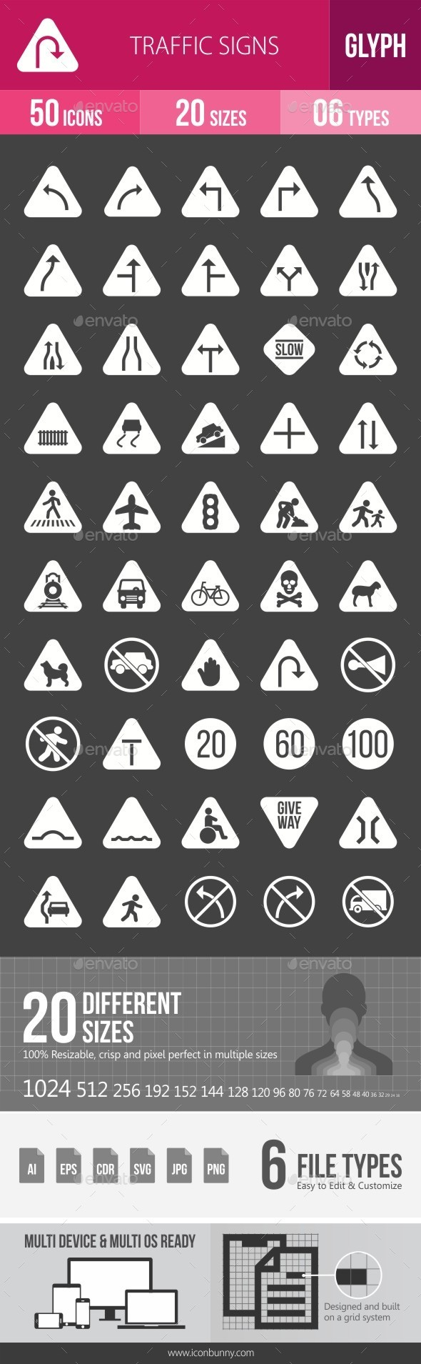 Traffic Signs Glyph Inverted Icons - Icons