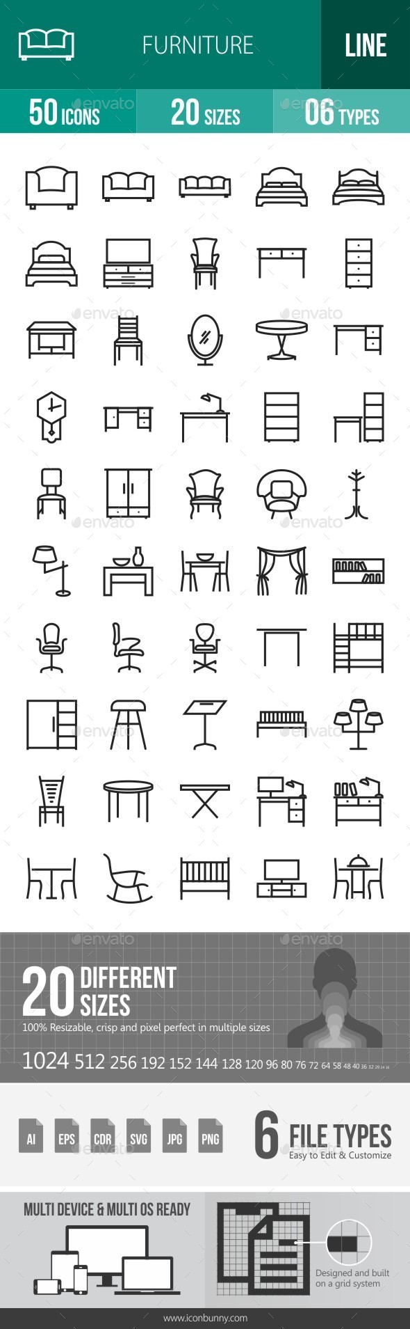 Furniture Line Icons - Icons