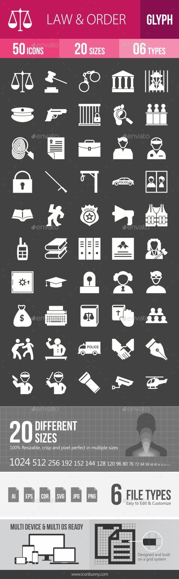 Law & Order Glyph Inverted Icons - Icons