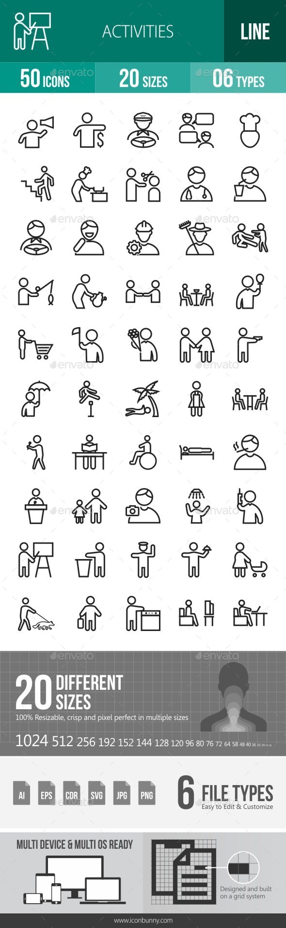 Activities Line Icons - Icons