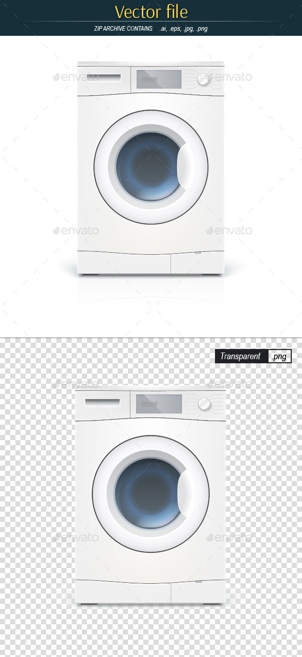 Automatic Washing Machine Front View - Man-made Objects Objects