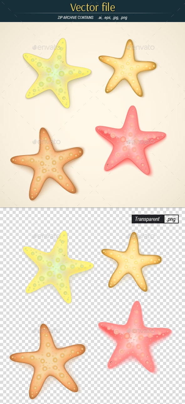 Starfishes Editable Vector - Man-made Objects Objects