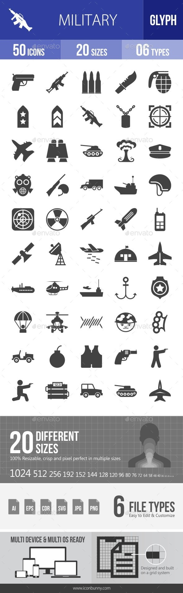 Military Glyph Icons - Icons