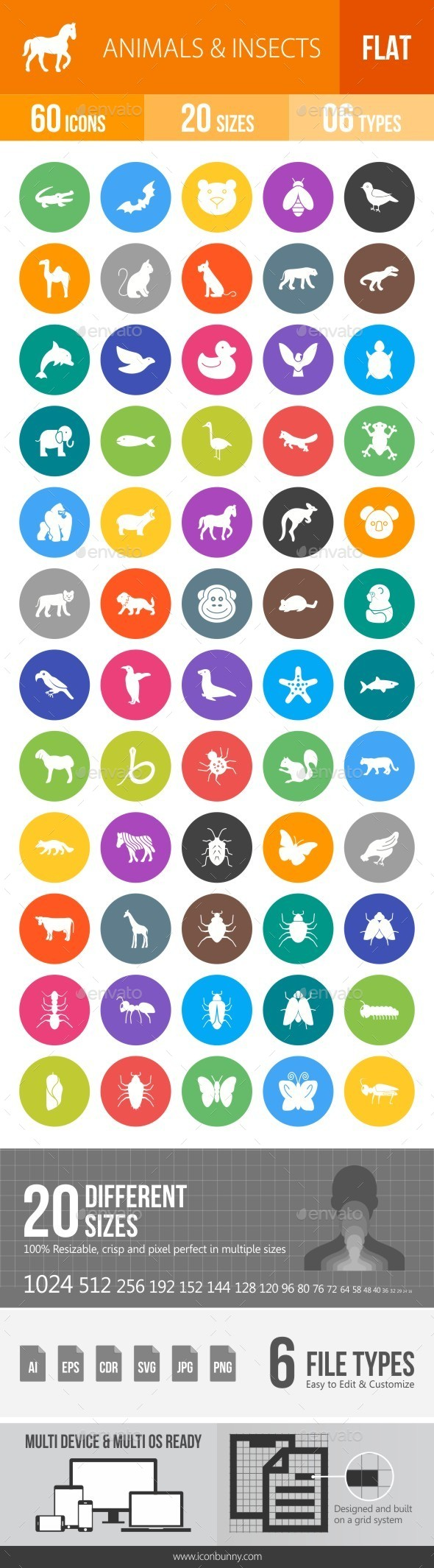 Animals & Insects Flat Round Icons - Icons