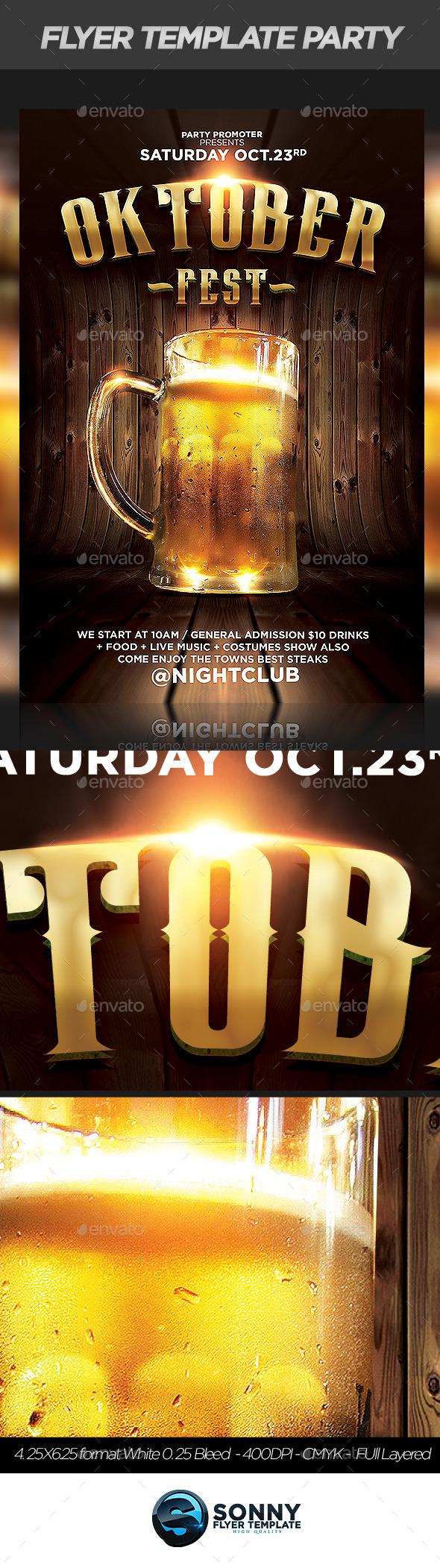 Oktober Fest Party flyer - Flyers Print Templates