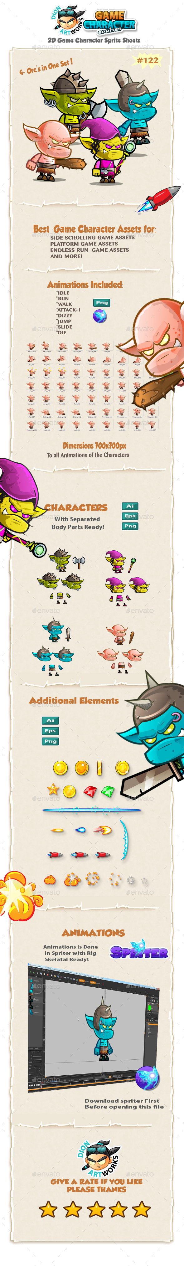 Orcs  2D Game Character Sprites 122 - Sprites Game Assets