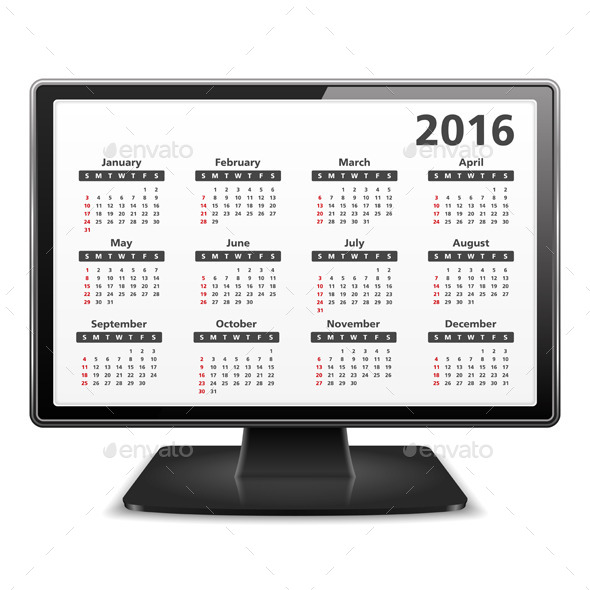 2016 Calendar - Miscellaneous Vectors