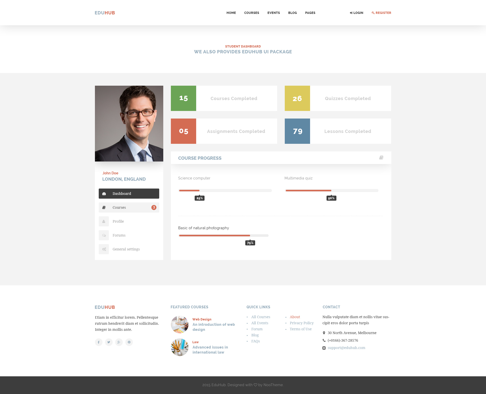 eduhub learning management system psd template by noothemepsd