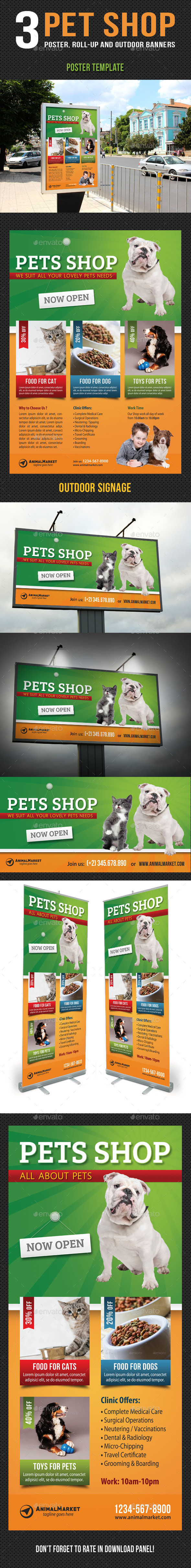 3 in 1 Pet Shop Poster and Banner Templates Bundle - Signage Print Templates