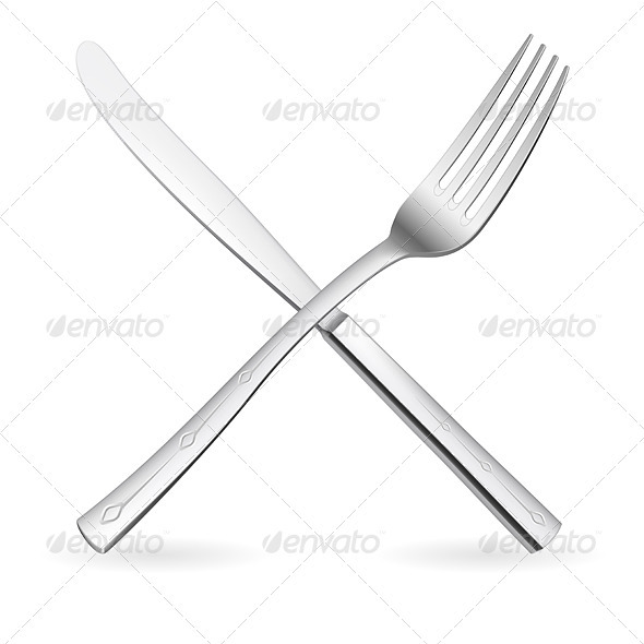 Crossed fork and knife. - Characters Vectors