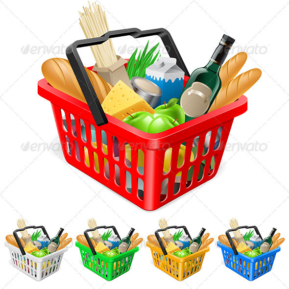 Shopping basket with foods. - Characters Vectors