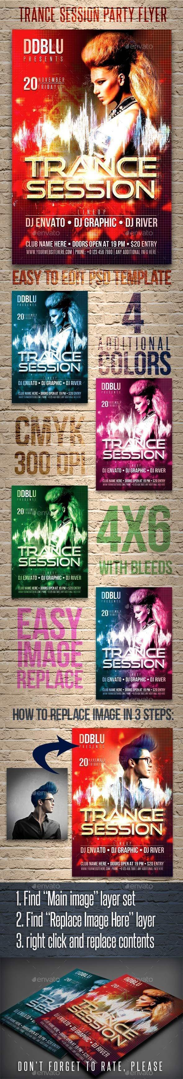 Trance Session Flyer - Clubs & Parties Events