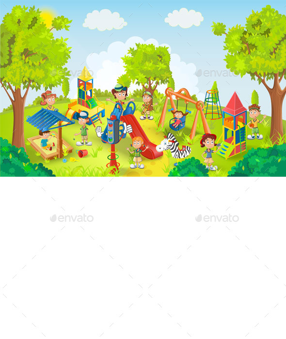 Children Playing in the Park Illustration - People Characters