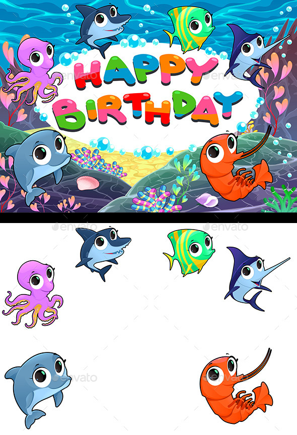 Happy Birthday Card with Marine Life.  - Animals Characters