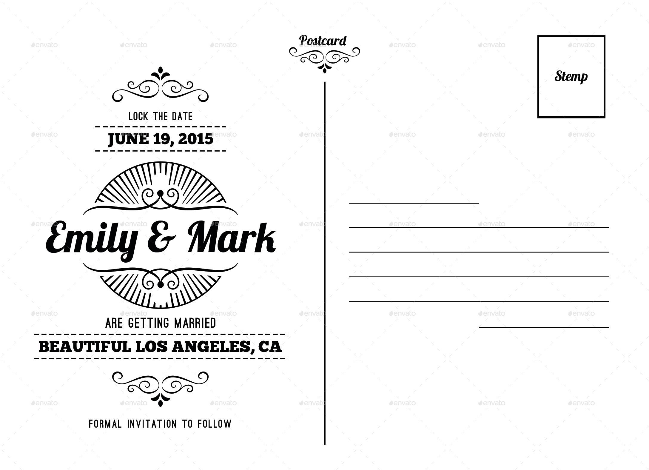 Wedding postcard by nishamehta graphicriver previewlock the date card template balck white backg maxwellsz