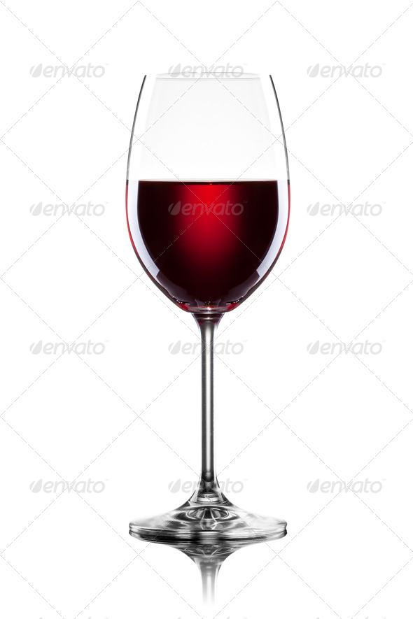Red wine in glass isolated on white - Stock Photo - Images