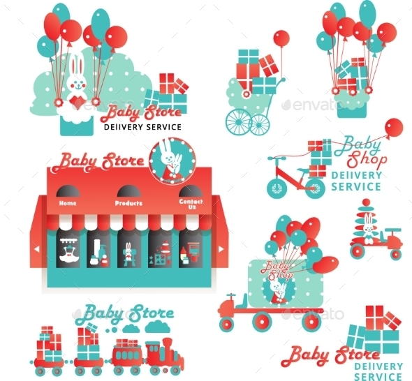 Cute Designs Set For Baby Store Delivery Service - Retail Commercial / Shopping
