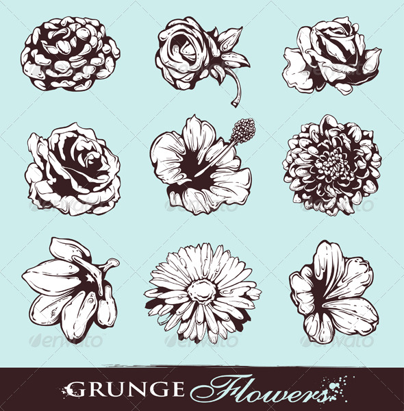Set of Grungy Flowers - Decorative Symbols Decorative