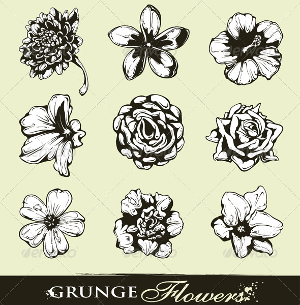 Set of Grungy Flowers - Decorative Symbols Decorative