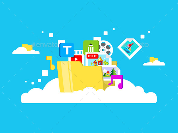 Cloud Storage, Folder With Files Of Different - Web Technology