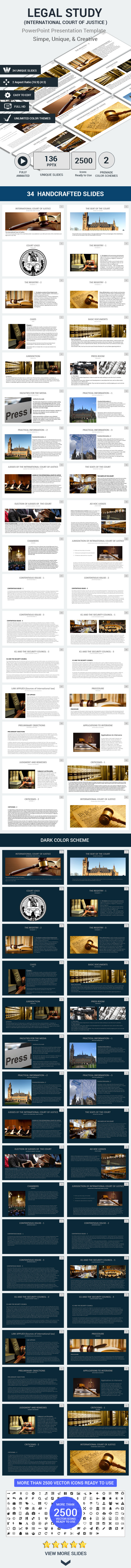 LEGAL STUDY  ( International Court of Justice ) - PowerPoint Templates Presentation Templates