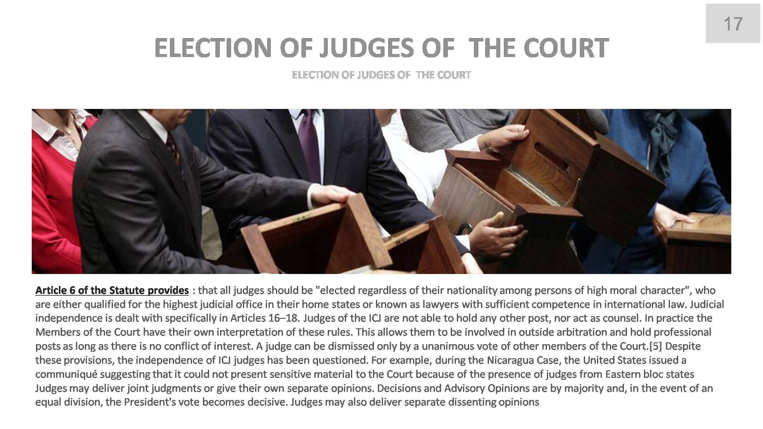 a study of international court of justice The international court of justice (icj) is the principal judicial organ of the un  international court of justice website established through the.