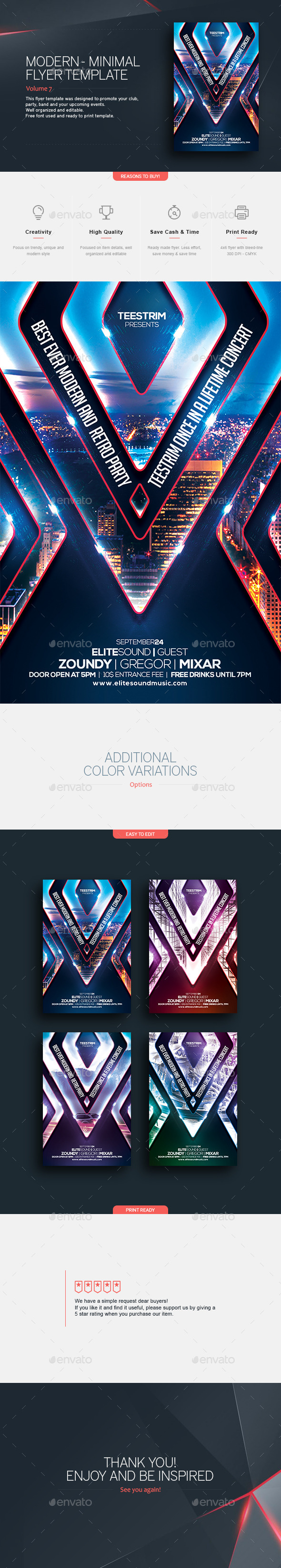 Modern Retro | Flyer Template - Clubs & Parties Events
