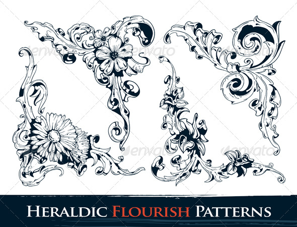 Set of Heraldic Flourish Patterns - Flourishes / Swirls Decorative
