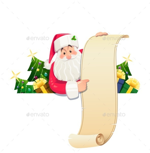 Santa Claus with Scroll and Gift - Christmas Seasons/Holidays