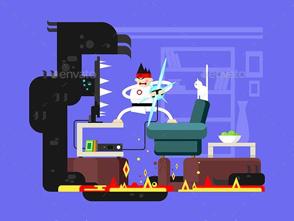 Gamer Cartoon Character - Computers Technology