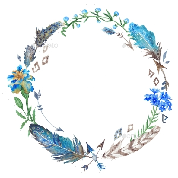 Boho Floral And Feather Wreath - Backgrounds Decorative
