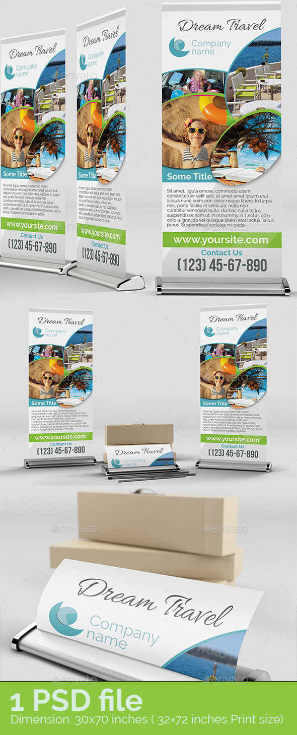 Dream Travel Roll Up - Signage Print Templates