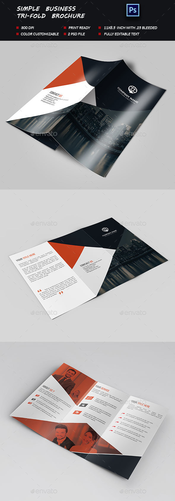 Simple Business Tri-fold Brochure - Brochures Print Templates