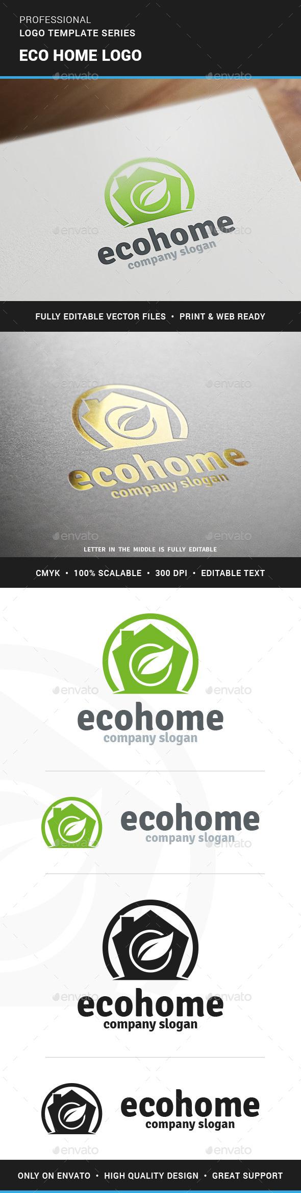 Eco Home Logo Template - Buildings Logo Templates