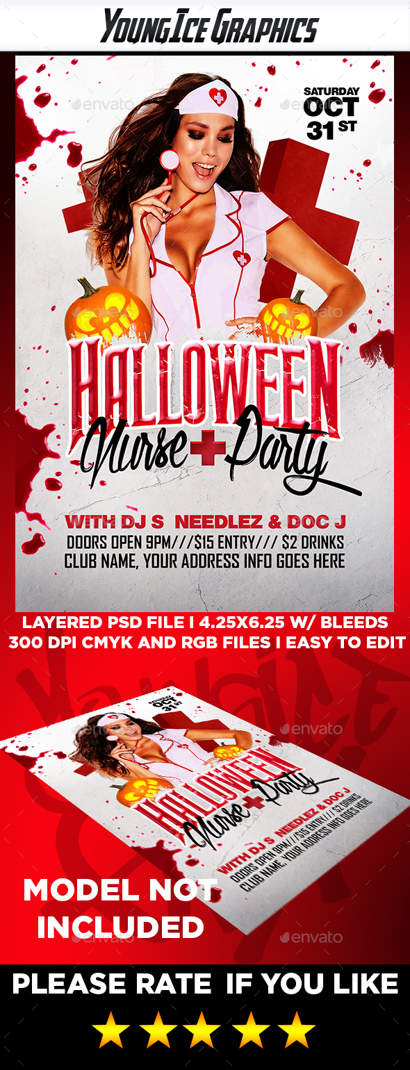 Halloween Nurse Party Flyer - Clubs & Parties Events