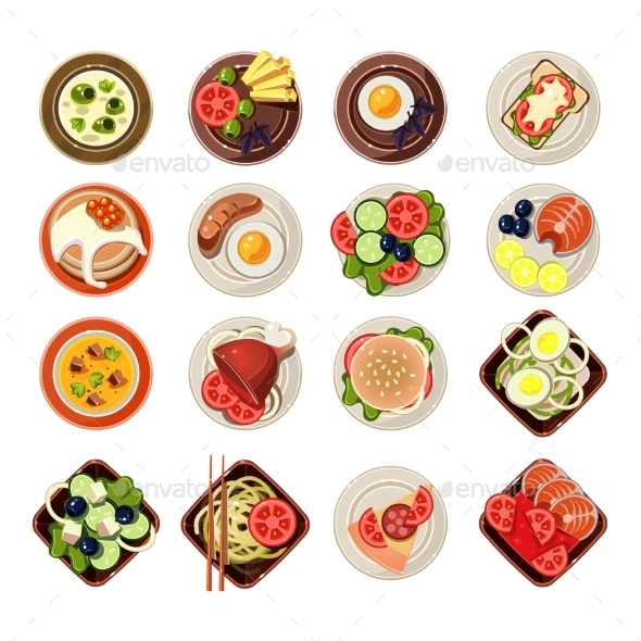 Set of Dishes with Various Food - Food Objects