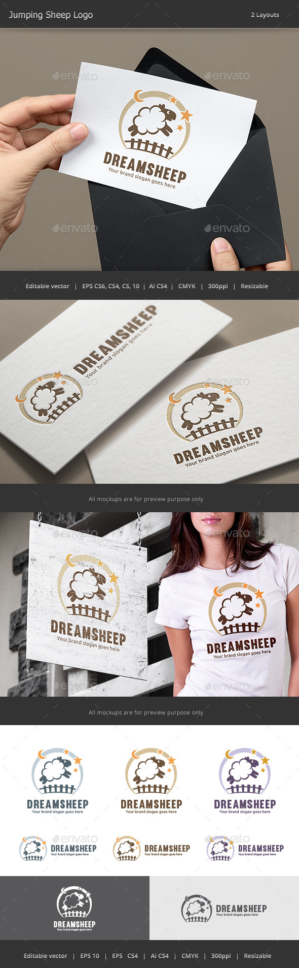 Jumping Sheep Logo - Animals Logo Templates