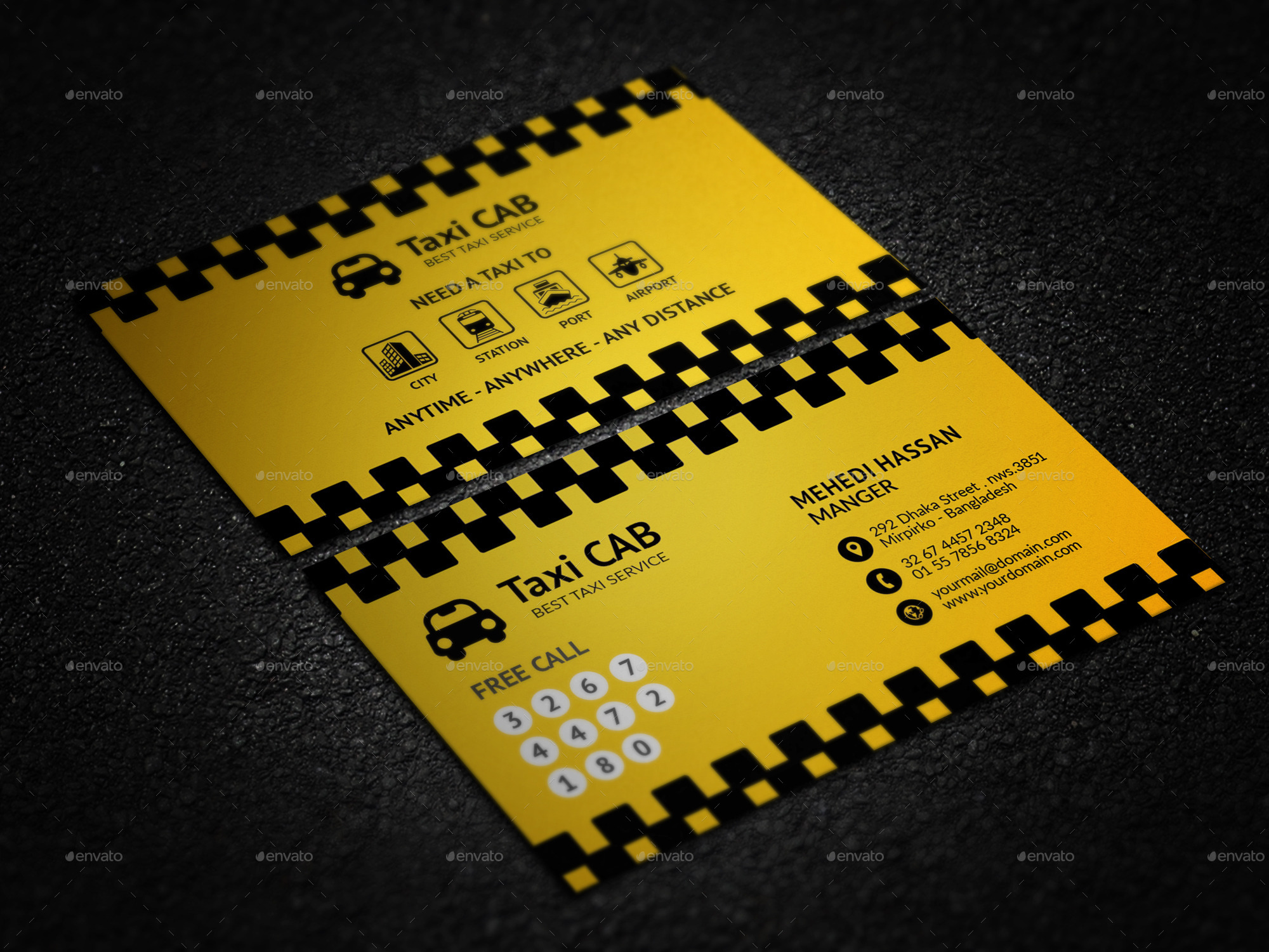 Taxi Cab Service Business Card by Mehedi__Hassan | GraphicRiver